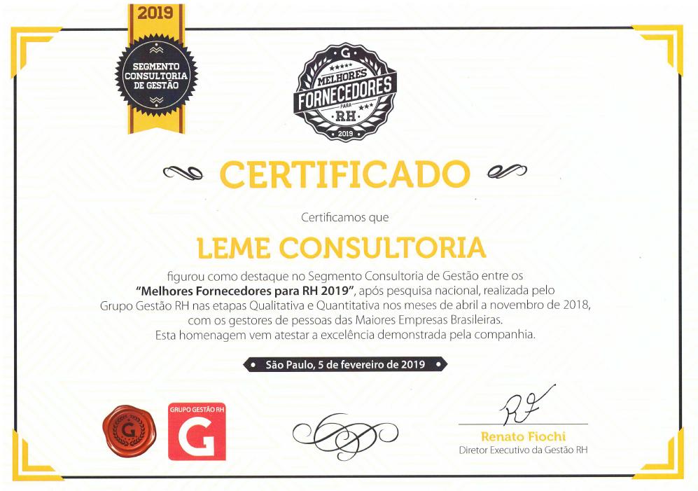 Certificado Melhores fornecedores de RH